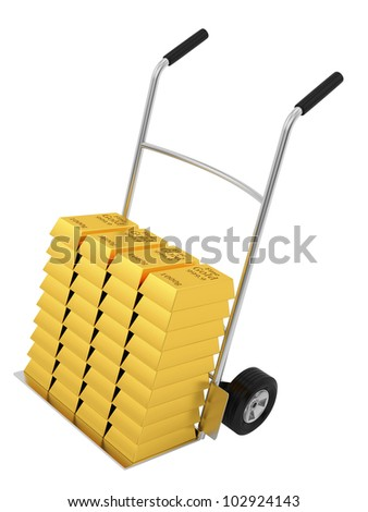 render of a hand truck with lots of gold bars, isolated on white