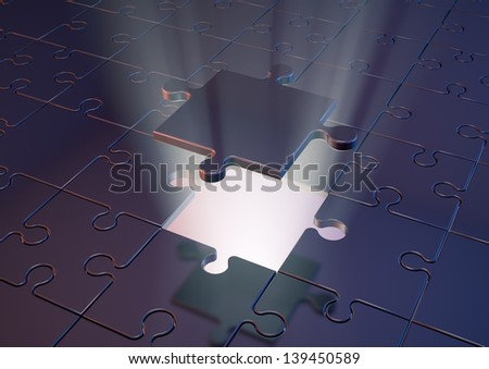 Render of a  jigsaw puzzle with a glowing backlight