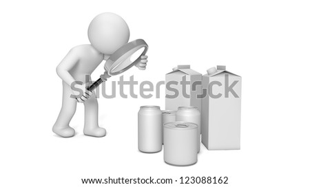 render of a man analyzing food packaging