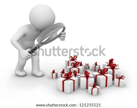 render of a man analyzing gifts