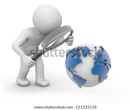 render of a man analyzing world
