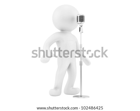 render of a man and a vintage microphone, isolated on white