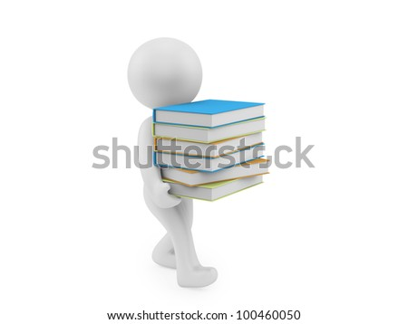 render of a man carrying books