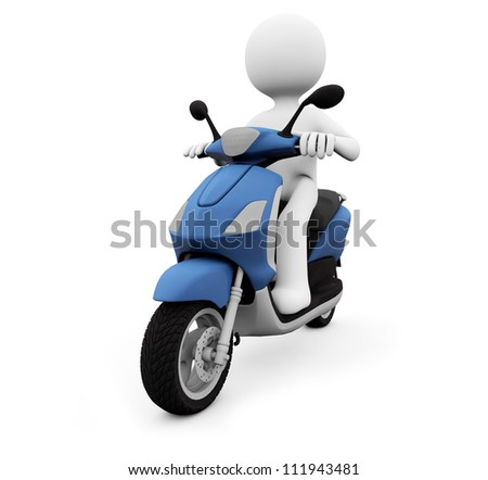 render of a man in a scooter - stock photo