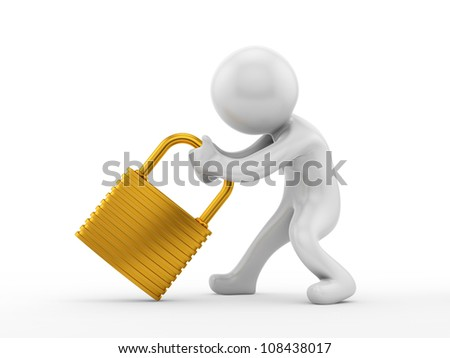 render of a man pulling a big gold lock