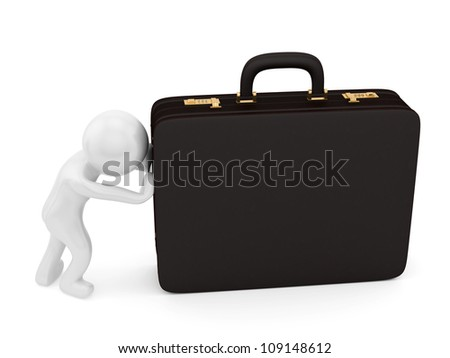 render of a man pushing a briefcase