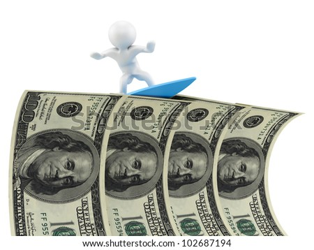 render of a man surfing on dollars