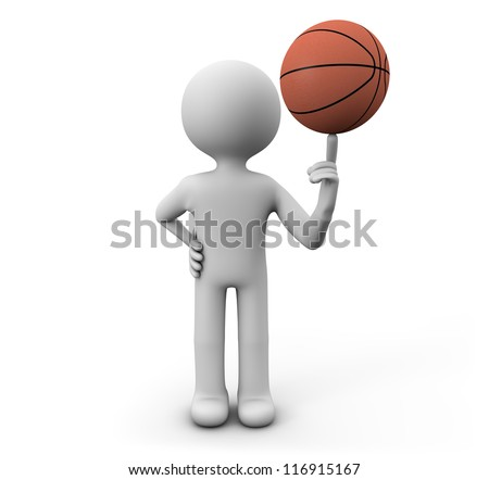 render of a man with a basket ball