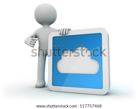 render of a man with a cloud icon