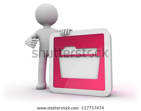 render of a man with a file icon