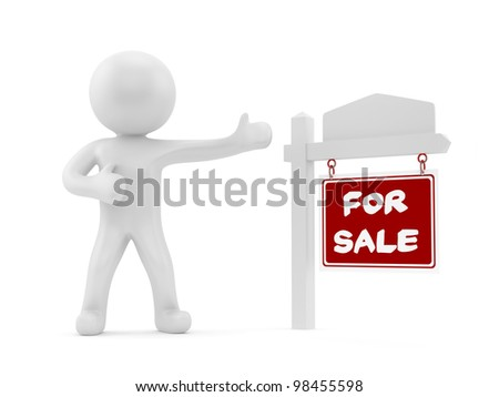 render of a man with a for sale sign