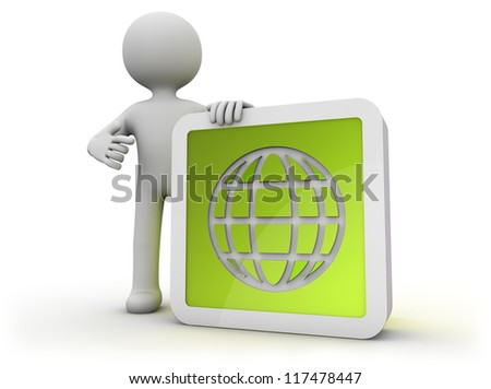 render of a man with a globe icon