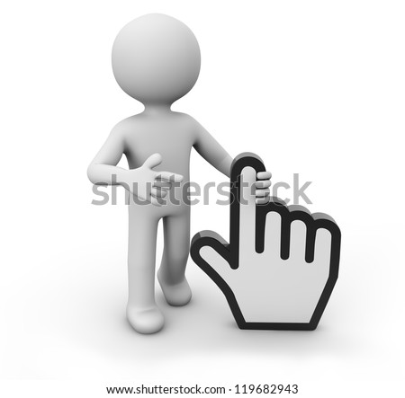 render of a man with a hand cursor