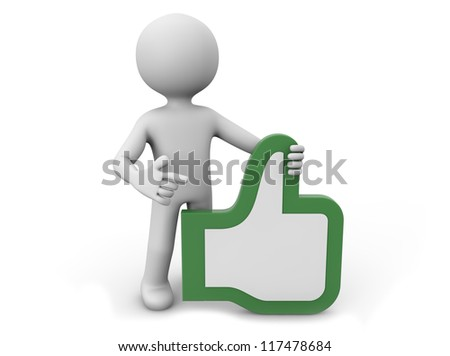render of a man with a hand with thumb up