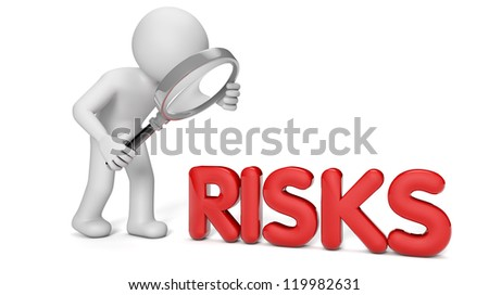render of a man with a magnifying glass looking to the text risks - stock photo