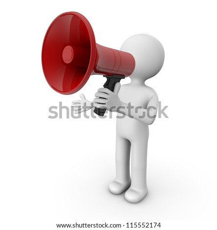 render of a man with a megaphone
