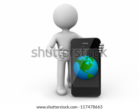 render of a man with an smartphone with a world globe in the screen