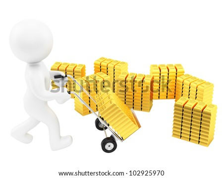 render of a man with hand truck and lots of gold bars, isolated on white