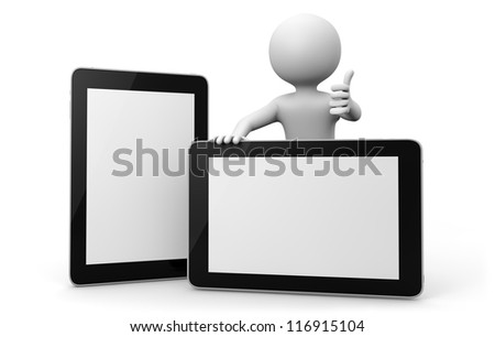 render of a man with to tablet pc