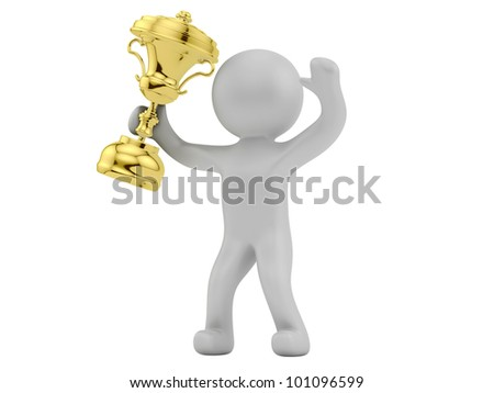 render of a man with trophy