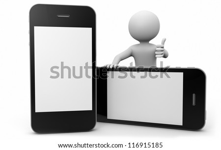 render of a man with two smartphones
