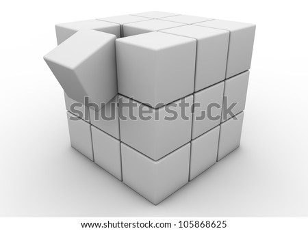 Render of a matrix of cubes, one falling