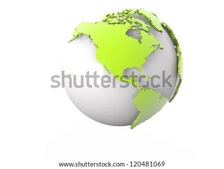 render of a modern world globe showing america