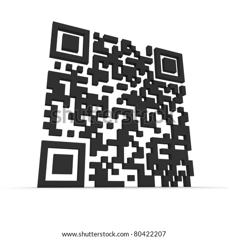 Render of a QR code (quick response) on a white background. Note: this qr-code is fake - stock photo