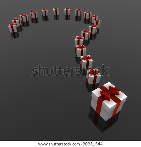 Render of a Question mark of presents