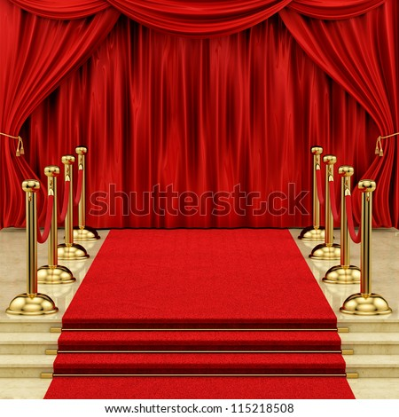 render of a red carpet with gold stanchions  and curtains