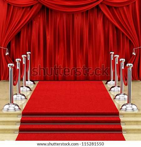 render of a red carpet with silver stanchions  and curtains
