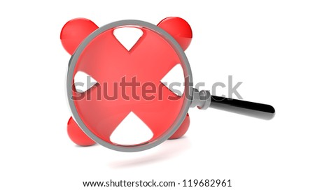 render of a rejected icon and a magnifying glass