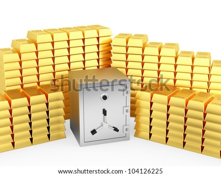 render of a safe and lots of gold bars