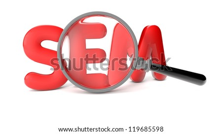 render of a SEM text and a magnifying glass