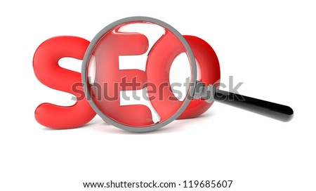 render of a SEO text and a magnifying glass