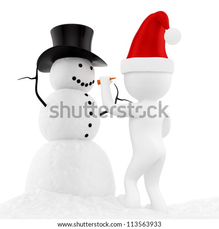 render of a snowman, isolated on white