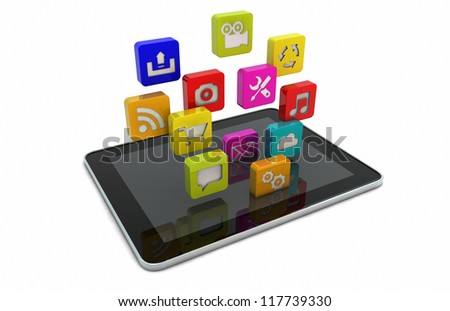 render of a tablet downloading apps