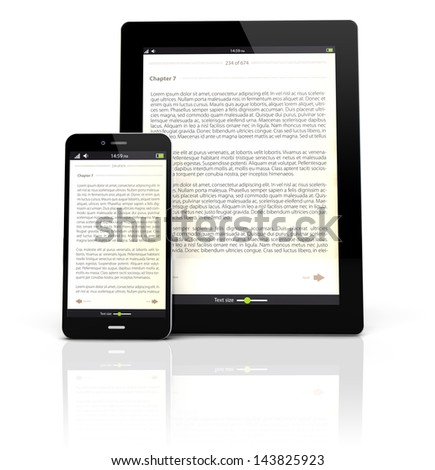 render of a tablet pc and a smart phone with an ebook app on the screen