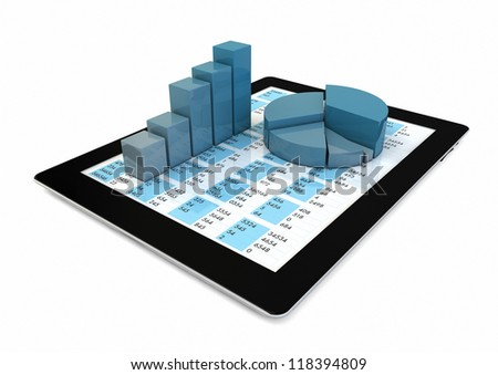 render of a tablet with graphics - stock photo