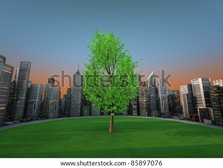 render of a tree in the middle of a city