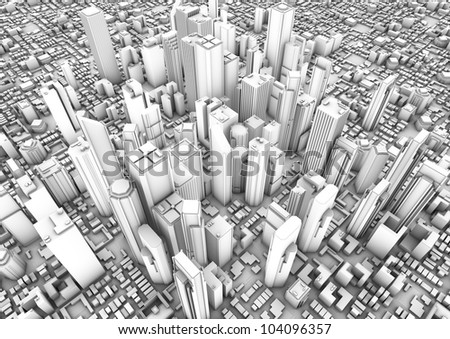 render of a white modern city