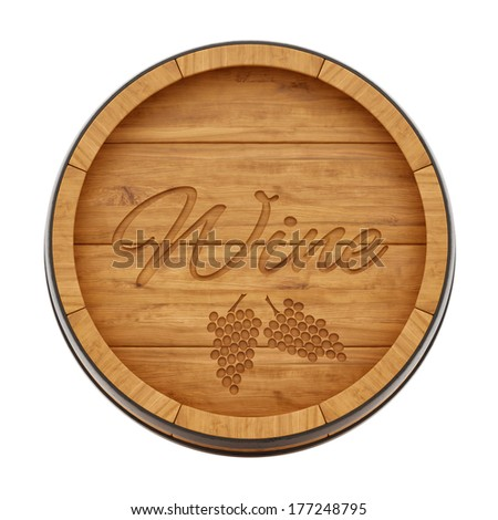 render of a wine barrel from top view, isolated on white