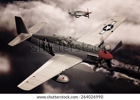 Render of a ww2 P-51B Mustang 3D model in flight - generic camouflage