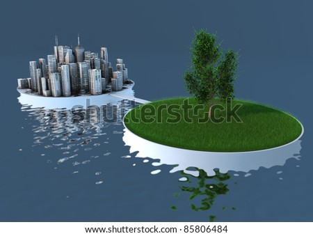 render of an abstract concept about the balance between nature and urbanization