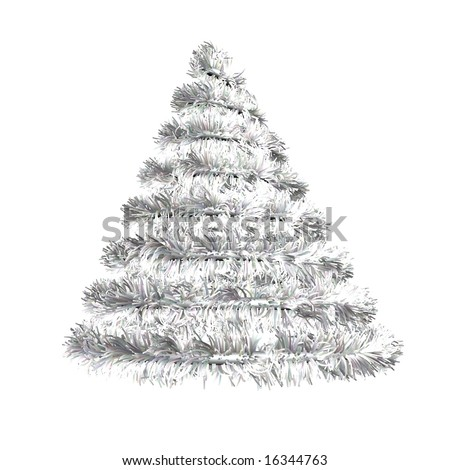 Render of an artificial silver Christmas tree
