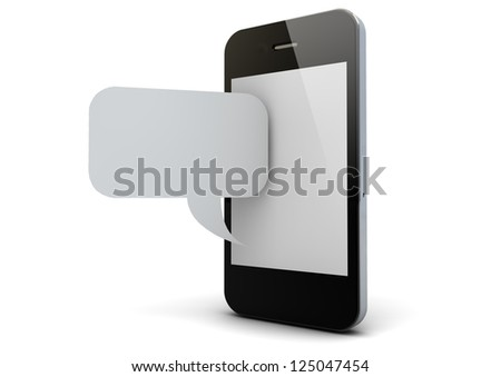 render of an smart phone and a chat symbol