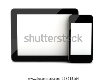 render of an smart phone and a tablet