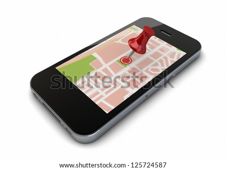 render of an smart phone with a map and a pin on the screen