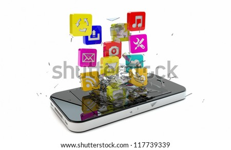 render of an smart phone with apps breaking the screen