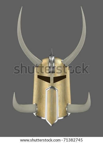 render of ancient golden war helmet with horns isolated on dark grey
